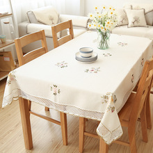 Senisaihon Europe Flowers Tablecloth White Hollow Lace Cotton Linen Dustproof Table cloth Wedding Banquet TV Cabinet Cover Cloth(China)