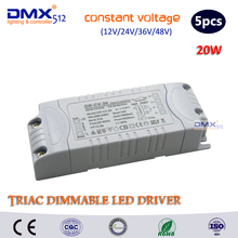 DHL free shipping output(12V/24V/36V/48V) 20W Triac Dimmable driver/ constant Voltage dimmable led driver/ led lighting dimmable