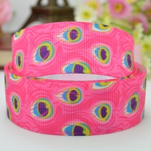 "DUWES 7/8"" 22mm Peacock Bright Rainbow Colors Feathers Printed grosgrain ribbon hai rbow DIY handmade wholesale OEM 50YD(China)"