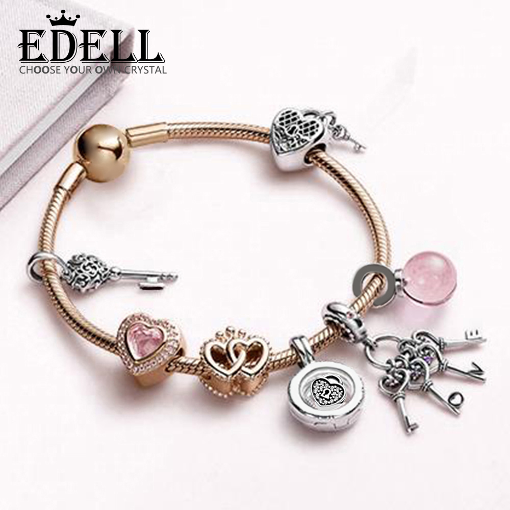 EDELL 100% 925 Sterling Silver Indispensable Modern Charm Bracelet Set Suitable for Lover Gift Original Women Fashion Jewelry