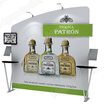 10ft Portable Trade Show Display Pop up stand Booth Kits exhibition With custom graphic print shelves TV bracket