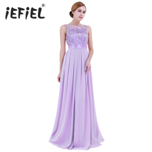 iEFiEL Lavender Weeding Dress Eleglant Women Ladies Embroidered Chiffon for Party Dress Long Prom Gown Dresses Clothing S-4XL