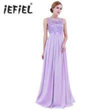 iEFiEL Lavender Weeding Dress Eleglant Women Ladies Embroidered Chiffon for Party Dress Long Prom Gown Dresses Clothing S-4XL(China)