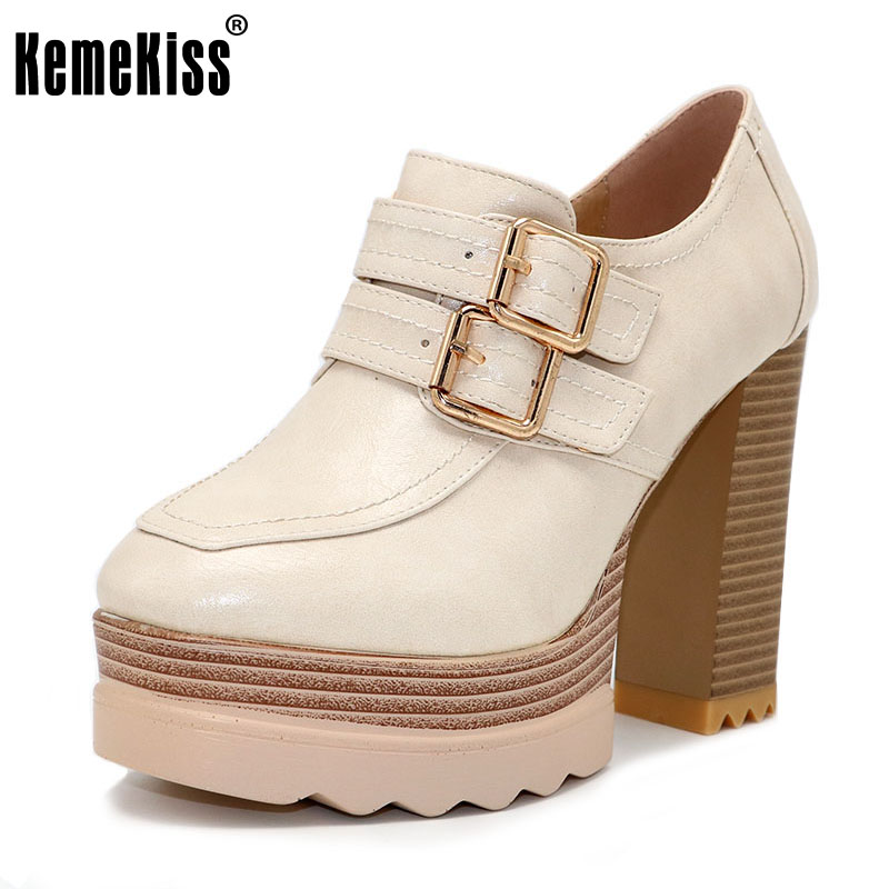 KemeKiss Size32-42 New Spring Autumn Thick High Heeled Pumps Woman Round Toe Lacing Female Platform Shoes Fashion Footwear Shoes<br>