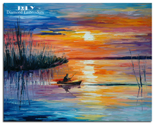 Diamond embroidery scenery setting sun Cross stitch diamond painting fishing man Picture of diamond mosaic landscape boat lake(China)