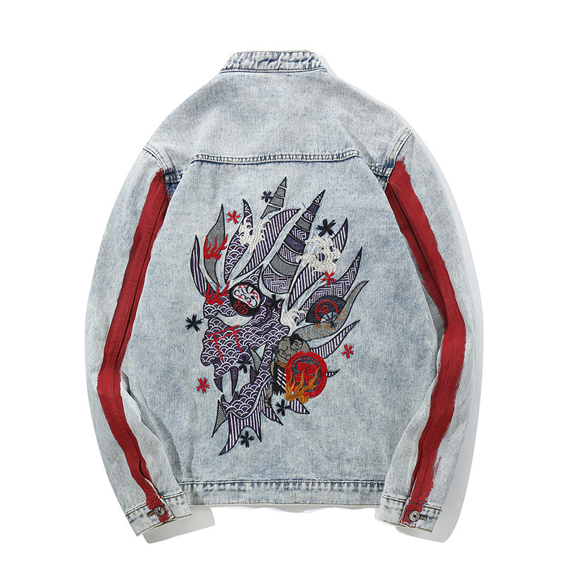 Sokotoo Men's embroidered jean jacket Trendy contrast color stand collar denim coat Vintage loose red stripe outerwear