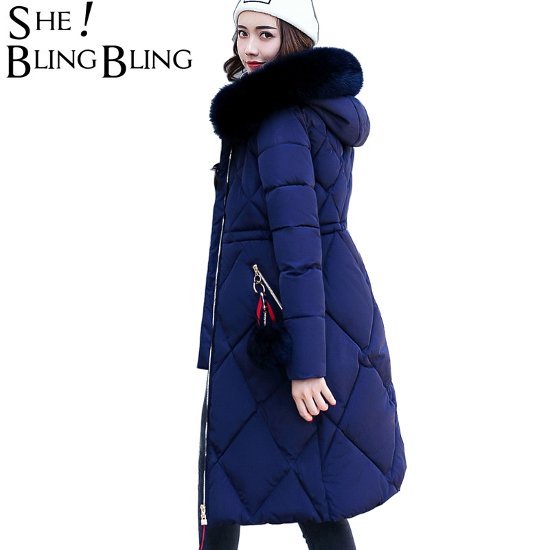 SheBlingBling Women Coat 2017 Winter Warm Slim Cotton Padded Jacket Fashion Faux Fur Hooded Collar Long Parkas Female CoatÎäåæäà è àêñåññóàðû<br><br>