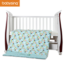 Baby Bedding Set 100% Cotton Cute Cartoon Print Duvet Cover Crib Quilt with Filling 4Pcs FCBK001(China)