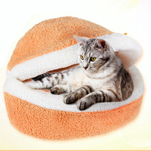 New Design Solid Hand Wash Autumn/winter warm Pet dog beds house Multiple usage Breathable Hamburgers cat bed goods for pets(China)