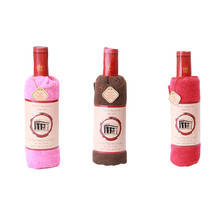 Creative Red Wine Bottle Shape Towel Gift Present Soft Cotton Face Towel Gift Wedding Gift Home Decoration IC878452