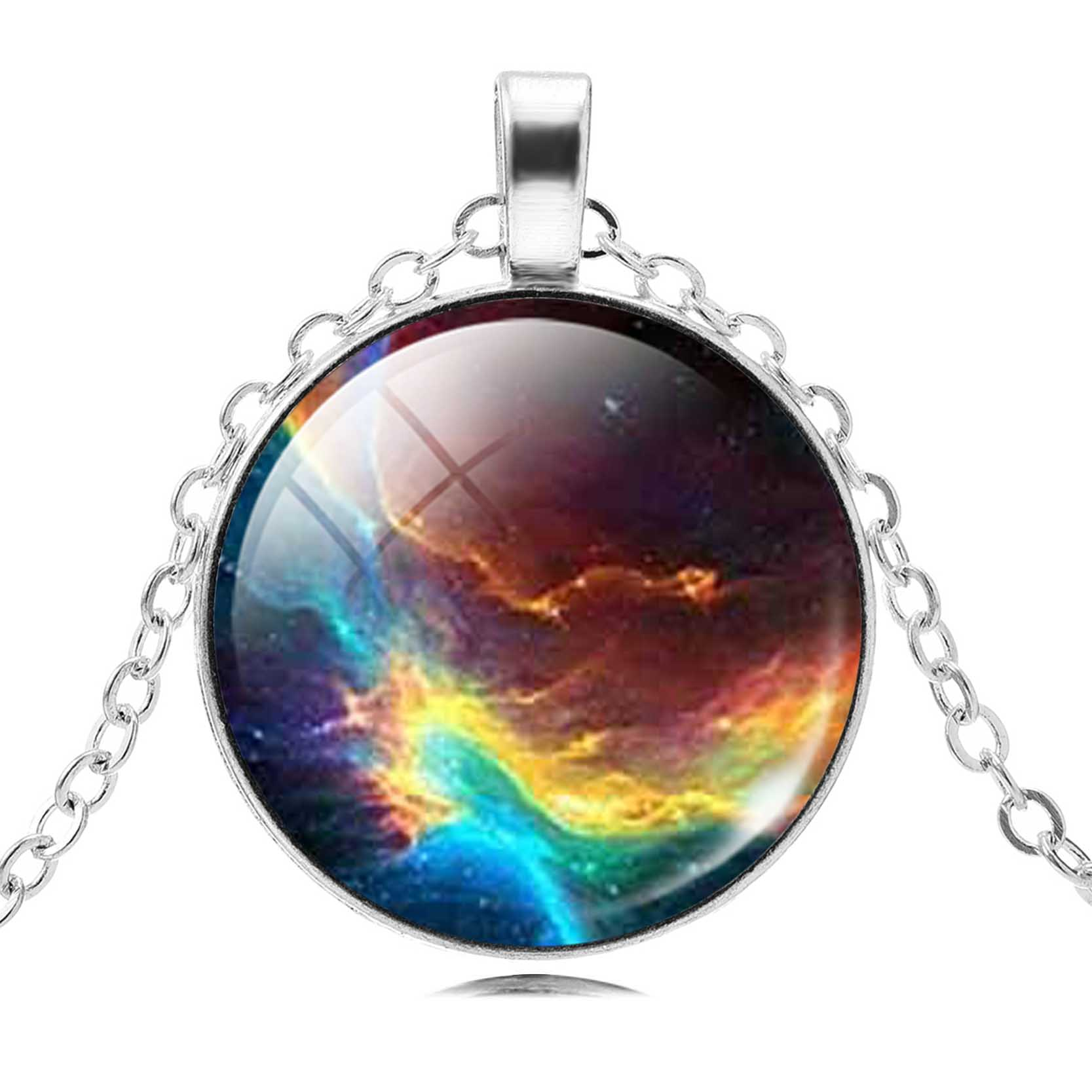 Charm Sky Galaxy Universe Pendant Necklace Choker Necklace Silver Chain Glass Cabochon Maxi Jewelry for Women Gift Anime 2017(China)