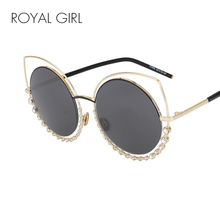 ROYAL GIRL NEW Brand Cat Eye Sunglasses Women Vintage Metal Frame With Inlaid Diamonds Sun Glasses Gafas De Sol Oculos SS920(China)