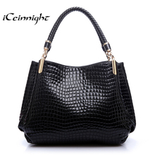 iCeinnight Women Handbag 2017 New Fashion Royal Blue Ruby Red handbags women bags crocodile Pattern PU Leather Shoulder notebook(China)