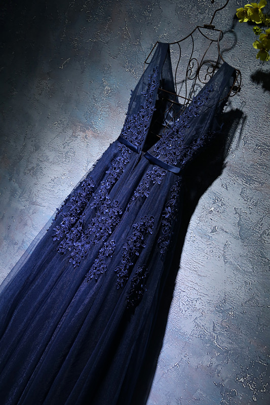 Shop Navy Blue A-line elegant Prom dress on sale