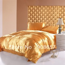 new yellow luxurious Smooth Shiny imitated silk satin fabric bed linen girls bedding comforter queen/full quilt duvet covers set