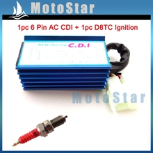 Blue Racing 6 Pin AC Ignition CDI Box Red D8TC Spark Plug For CG 125cc 150cc 200cc 250cc Engine Pit Dirt Motor Bike ATV Quad