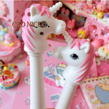 Pink Unicorn Ballpoint Pen Glitter Soft Lovely Stationery School Chancery Ball Pen Office Accessories Kawaii Items DD1886(China)
