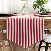 Stripe Table Runner Simple Style Plain Rectangle TV Stand Coffee Dining Decor Cover Polyester Cotton Blend Yarn Dyed Tablecloth