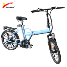 "JS Hot Sale Mini Folding Electric Bicycle 250W Brushless Motor 36V10Ah Lithium Battery 20"" Wheel Colorful Blue Folding E-Bike"