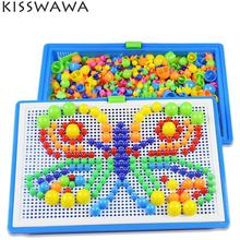 KISSWAWA 296 Pieces/set Box-packed Grain Mushroom Nail Beads Intelligent 3D Puzzle Games Jigsaw Board For Kids Educational Toys