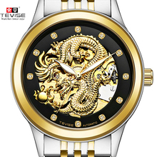 Men's Watch Skeleton Hollow Golden Dragon Mechanical Watch Automatic Winding Waterproof TEVISE Relogio Automatico Masculino