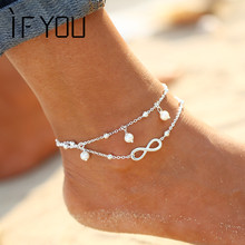 IF YOU Barefoot Sandals Enkelbandje Artificial Stone Beads Boho Foot Jewelry Beach Ankle Bracelet Anklets for Women Barefoot