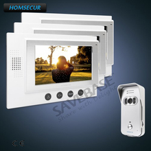 "HOMSECUR 1C3M Kit 7"" Wired Video Door Phone Intercom System with One Button Unlock + Dual-Way Intercom(China)"