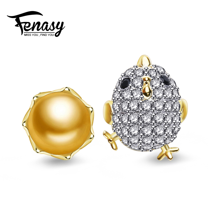 FENASY Freshwater Pearl stud earrings, Pearl Jewelry with 925 Sterling Silver earrings for women trendy chicken earrings
