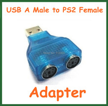 20pcs Converter USB Male to PS2 Female Y-Splitter Plug Adapter 1 Male to 2 PS2 Female Extension Connector for PC Keyboard Mouse(China)