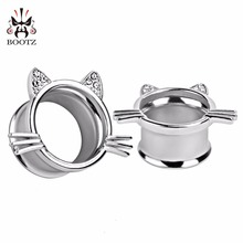 silver cat style fashion body jewelry ear tunnel plugs piercing gauges expander 2pcs lot pair selling(China)