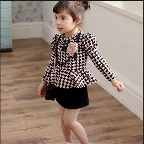 Kids Girls Long Sleeve One Piece Dress Houndstooth Necklace Flower Dress  2-7Y<br><br>Aliexpress