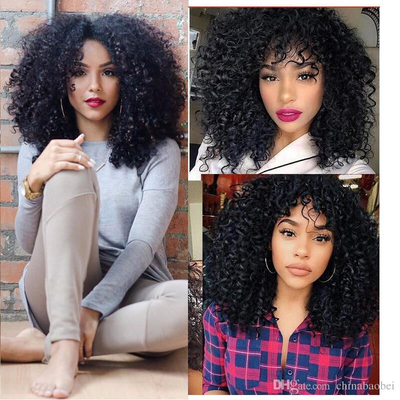 High Quality Heat Resistant Fiber Afro Curl Kinky Synthetic Lace Front Wig Glueless Curly lace front wig for Black Women<br><br>Aliexpress