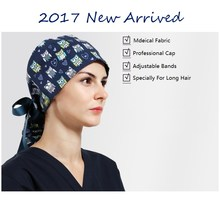 2017 Hospital Doctor Woman Surgical Hat Long Hair Adjustable Flat Cap Nurse Scrub Cap Medical Fabric Cap,Medical Service,01(China)