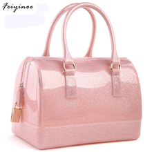 Women handbags leather bag new jelly candy pillow top handbag colorful bag
