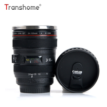 Transhome Camera Lens Coffee Mug Creative Canon Stainless Steel Travel Vacuum Flasks Tea Milk Mug Novelty Gifts Thermocup 400ml(China)