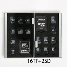 18 in 1 Aluminum Storage Box Bag Memory Card Case Holder Wallet Large Capacity For 2* SD Card 16*Mirco SD