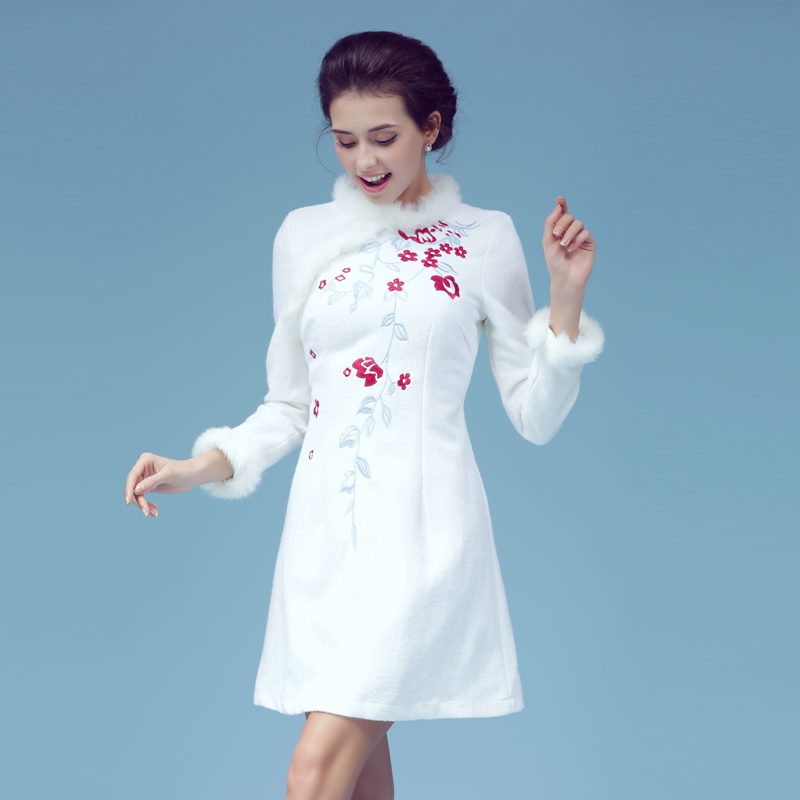 6155 # MoZhu dye in the autumn New winter Cultivate morality dress embroidered MAO restoring ancient ways(China (Mainland))