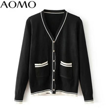 AOMO women black cardigan long sleeve warm korean style autumn winter office lady female fashion elastic knitted tops XIC03