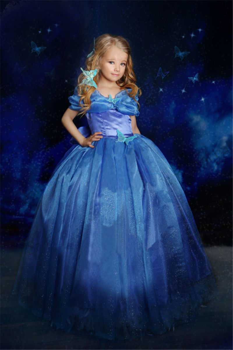New Summer  Kids Girls Cinderella Dress Blue Children Princess Dresses with Butterfly Birthday Party Cospaly Costume Size 3-10T<br><br>Aliexpress