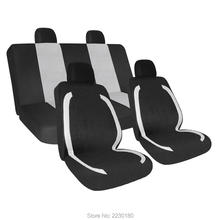 Mesh Car Seat Covers Full Set Black Mid Lines Airbag Compatible - Detachable Headrests Breathable Materials Gray 8PCS IASC001B(China)