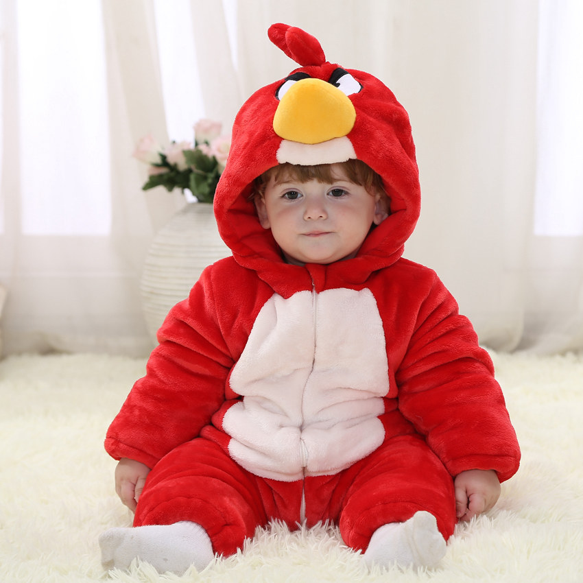 Animal Winter Baby Romper Christmas Bird Costumes 100% Cotton Red Fleece Winter Kids Coverall 4-24 Baby Winter Clothing RL11-9<br>