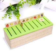 3 Years Kids Girls Boys Wooden Box Montessori Toy Educational Geometry Math Toy furit  matches