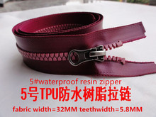5#waterproof resin zipper 68cm red open end EN71PAR3 TPU 3pcs/lot zipper for diy  wholesale accessories free shipping