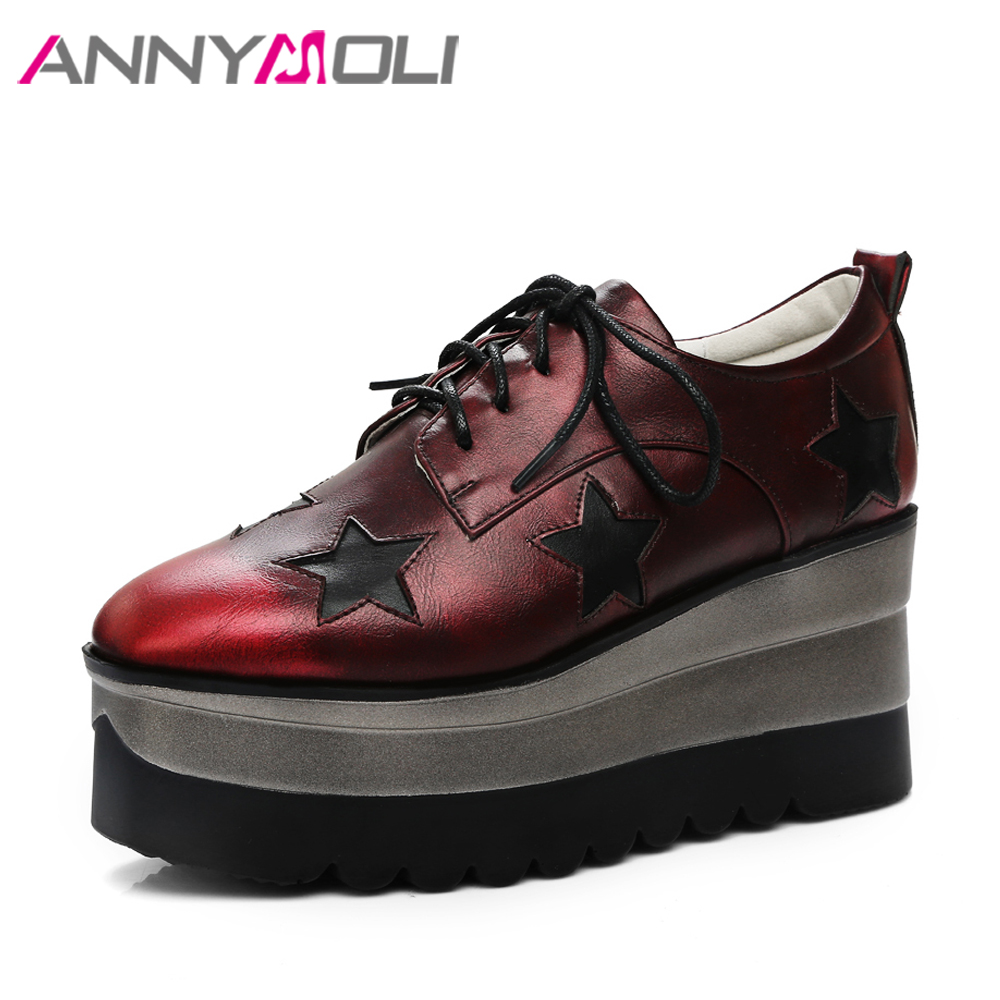 ANNYMOLI Women Ankle Boots Platform Wedge Heels Lace up Boots High Heel Brand Boots 2018 Autumn Ladies Shoes Big Size 33-42 Red<br>