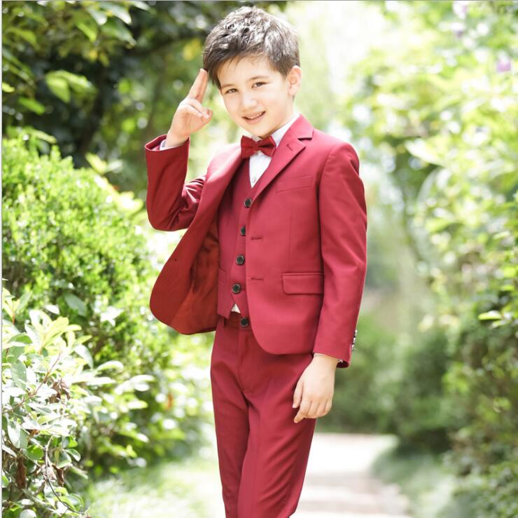 2017 New Boys suits for weddings Kids Prom Suits Black Wedding Suits Kids Big Children Clothing Set Boy Formal Classic Costume