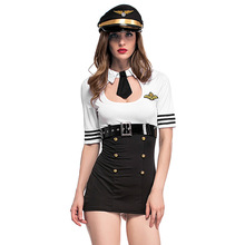 Double Breasted Women Stewardress Uniform Costume Short Dress+Belt+Hat Service Club Halloween Cosplay Airline Pilot Costumes(China)