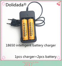 2pcs Brand new battery 18650 3.7 V 9900 MAH Li ion rechargeable battery  18650 batery +1pcs 18650 battery charger intelligent