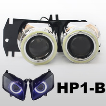 KT Headlight Suitable for Honda CBR600RR 2007-2012 LED Angel Eyes Motorcycle HID Bi-xenon Projector Lens 2008 2009 2010 2011