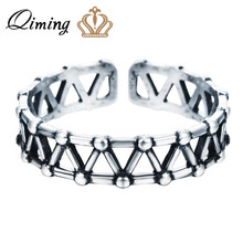 QIMING Thai Silver Vintage Ring Jewelry For Women Punk Style Weave Cross Knuckle Midi Mid Pinkie Toe Ring for Teen Girls(Hong Kong,China)