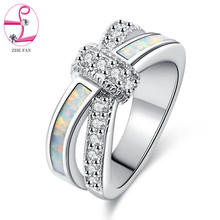 ZHE FAN White Fire Opal Rings AAA Cubic Zirconia Jewelry Wedding Party Engagement Love Statement Ring Rhodium Plating Size 5-10(China)